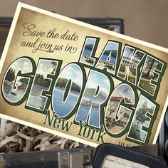 Vintage Large Letter Postcard Save the Date (Lake George, New York)