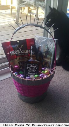 Adult easter basket fav holidays pinterest easter baskets my fianc decided to man up his pink easter basket for the family negle Images