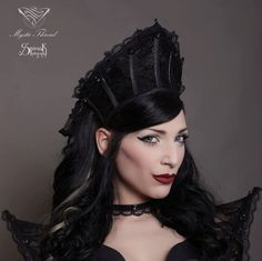 Black lace gothic couture boned crown with Preciosa gems-gothic crown-victorian crown-gothic headpiece-queen crown-victorian headpiece