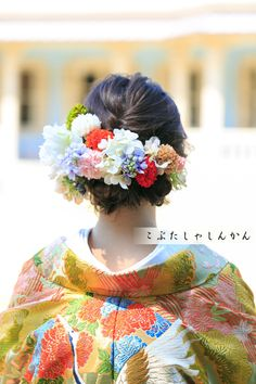 画像3つ目 和装髪型♡2の記事より Hair Arrange, Kimono Fashion, Japanese Brides, Crown, Hair Styles, Wedding, Beauty, Kimono, Hair Plait Styles