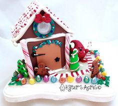 Parker's Christmas Gingerbread House  Twelve Days of Christmas Finale by KatersAcres - Perfect for your home decor or Christmas Village Scene - $275.00