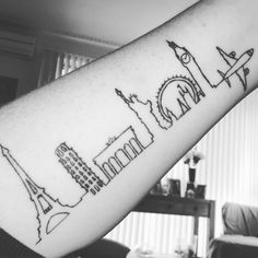 "66 Likes, 4 Comments - Erin Piggott (@erin.travels.the.world) on Instagram: ""My latest tattoo! #traveler #traveltattoo #eiffeltower #leaningtowerofpisa #brandenburggate…"""