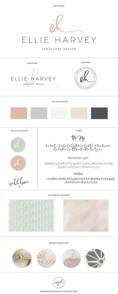 Brand style board for Ellie Harvey jewellery design | this brand design board for a jewelry business and creative female entrepreneur has logo, variation and submark, a muted blue, pink and latte color palette with gorgeous script font and serif typograph