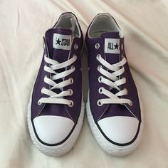 purple converse wore them once or twice. size: women's 7, men's 5. scuffed up a little, but cleanable. send me offers! bundle = discount.  Converse Shoes