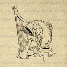 Carp Playing Harp Printable Digital Download Fish Music Graphic Image Antique Clip Art Jpg Png Eps 18x18 HQ 300dpi No.1797 @ vintageretroantique.etsy.com #DigitalArt #Printable #Art #VintageRetroAntique #Digital #Clipart #Download