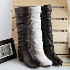 Buy Winter Mid-Calf Women Leather Boots Black White Brown Flat Heels Half Boots Autumn Winter Shoes at Wish - Shopping Made Fun Flat Heel Boots, Heeled Boots, Shoe Boots, Flat Shoes, Women's Shoes, High Shoes, Long Boots, Knee High Boots, Party Kleidung