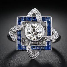 Art Deco 1.00 ct  Diamond Solitaire & Sapphire Ring, ca. 1930s
