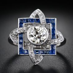 Art Deco 1.00 ct  Diamond Solitaire  Sapphire Ring, ca. 1930s