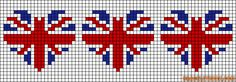 Union Jack / British flag hearts chart would be good for towels Cross Stitching, Cross Stitch Embroidery, Embroidery Patterns, Cross Stitch Bookmarks, Cross Stitch Heart, Union Jack, Cross Stitch Designs, Cross Stitch Patterns, Alpha Patterns