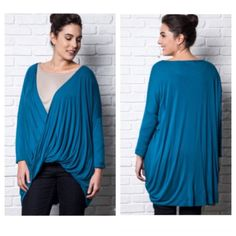 "(Plus) Drop front twist top Drop sleeve twist top  Length- 36"" at the longest part.  65% cotton/ 35% polyester. RUNS LARGE! I'm a 1/2x and I own an XL and fit perfectly in it. This looks stunning with leggings and boots/ booties. Color is rich blue. SaR2sd0 Availability- XL•1x•2x • 2•2•1 ⭐⭐️This item is brand new with manufacturers tags, boutique tags, or in original packaging. NO TRADES Price is firm unless bundled Ask about bundle discounts Boutique Tops"