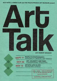 Ace Hotel and the Palm Springs Art Museum present Art Talk at 7 PM, Nov.13 #psimhere