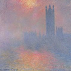 The Houses of Parliament, London, with the Sun Breaking Through the Fog, 1904 Posters by Claude Monet - AllPosters.co.uk