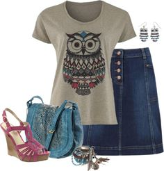 """Inca Owl Tee"" by chrissykp ❤ liked on Polyvore"