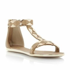 DUNE LADIES Neutral JAFFY - Metal Hardware T-Bar Sandal | Dune Shoes Online