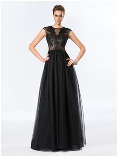 Timeless Cap Sleeves A-Line Lace Floor-Length Tulle Evening Dress