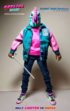 "Kickstarter Exclusive ""Midnight Miami Marauder"" Edition Jacket Hotline Miami 1/6 Scale Articulated Figure by Erick Scarecrow"