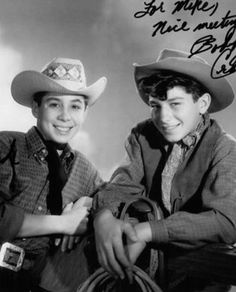 Bobby Crawford (right) is probably best remembered for his role on the 1959 TV series Laramie, but he appeared on The Rifleman with his younger brother Johnny Crawford and had roles on many other TV series through the 1960s. He later became a movie and TV Producer. Here he is with brother Johnny Crawford.