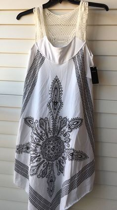 77e41aca1d Swimwear INGEAR SZ S M white crochet lace top Coverup white - black paisley