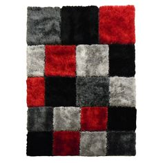 A bold, geometric-square design adorns this rug featuring an eye-popping combination of red, black and silver grey colors. This shag rug also offers a hand-tufted silkbirght shine yarn construction and a lush 1.25-inch pile.