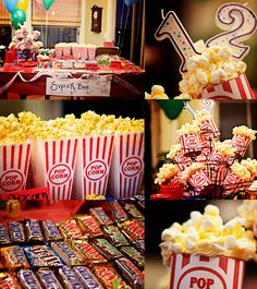 movie theme birthday party...make faux popcorn topped cupcakes