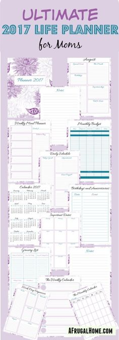 Moms, get your hectic schedule organized in 2017 with the Ultimate Planner for Moms, complete with calendars, meal planners, grocery lists, daily schedules & more!