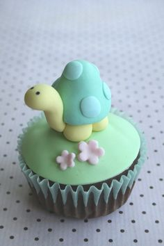 Adorable Sweet Snail Cupcake in Pastel Blue, Greens & Yellow with Petite Little Pink Flowers ~ So Cute!!