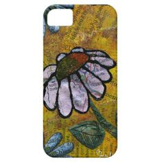 White Daisy on Yellow Background - Collage iPhone 5 Covers