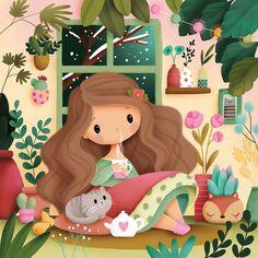 Illustration Mignonne, Cute Illustration, Girl Cartoon, Cartoon Art, Cute Images, Cute Pictures, Image Deco, Mermaid Drawings, Cute Paintings