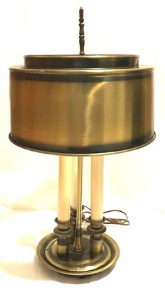 Vintage metal hand painted tole ware bouillotte table lamp shade brass three candle light french bouillotte table lamp vintage shade keyboard keysfo Image collections