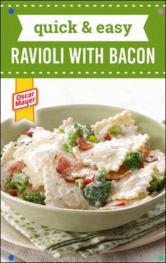 Quick and Easy Ravioli with Bacon – Parmesan cheddar, broccoli, and OSCAR MAYER bacon level-up ravioli in a straightforward and simple way! Snap to make this delectable formula for your supper table. Bacon Recipes, Pasta Recipes, Dinner Recipes, Cooking Recipes, Pasta Meals, Dinner Ideas, Dinner Dishes, Pasta Dishes, Dinner Table