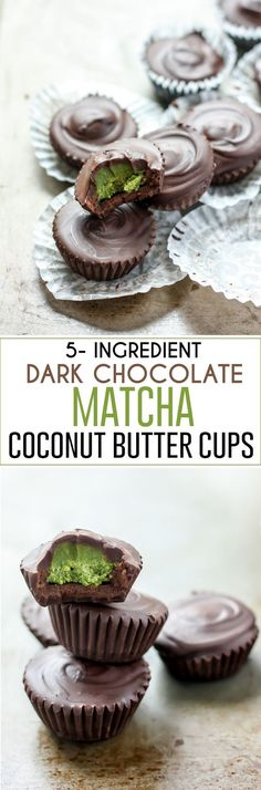 5-Ingredient Dark Chocolate Matcha Coconut Butter Cups! Vegan-friendly, decadent and seriously delicious! Ready in less than 20 minutes.