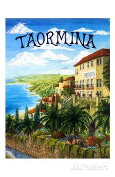 Italy Italian TRAVEL LARGE METAL TIN SIGN POSTER VINTAGE Taormina Sicily 1952