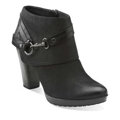 Lida Piper in Black Nubuck - Womens Boots from Clarks