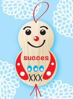 Blauwe kaart met houten gelukspoppetje- Greetz Dutch Quotes, Good Luck, Feel Good, Wish, Congratulations, Happy Birthday, Christmas Ornaments, Feelings, Friends