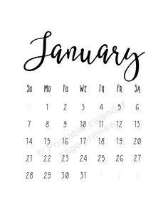 January  Printable Calendar  Black And White  Instant