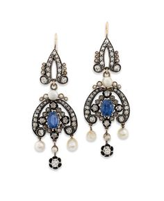 A PAIR OF 19TH CENTURY SAPPHIRE, PEARL AND DIAMOND EAR PENDANTS. Each articulated rose and old-cut diamond-set panel with central oval-cut sapphire highlight and surrounding bouton shaped pearl accents, suspending three similarly-set drops, mounted in silver and gold, 6.3cm long, hook fittings