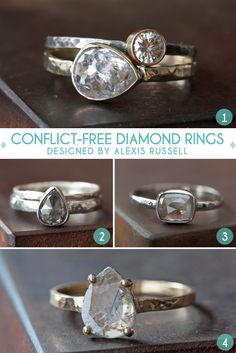 I love the hammered rings and the no prong setting, so pretty.