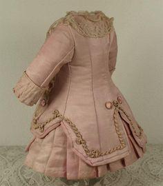 Marvelous Antique French Silk Satin Bebe Dress for Jumeau, Bru, Steiner other French Bebe