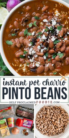 Instant Pot Charro Pinto Beans with crisp bacon are the most tender, spicy, flavorful Mexican beans. Typically dried beans require a long soak, but not when you make them in the pressure cooker! You're going to love this delicious recipe. Instant Pot Pressure Cooker, Pressure Cooker Recipes, Slow Cooker, Mexican Food Recipes, Beef Recipes, Side Dish Recipes, Side Dishes, Best Instant Pot Recipe, Pinto Beans