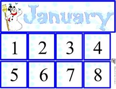 Free January Calendar Set includes month and number cards.