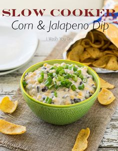 Slow Cooker Corn and Jalapeño Dip - more game day food! Bring it on! I'll just make a few gallons of this for the super bowl.