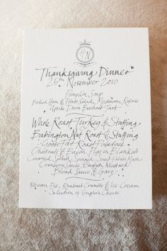 hand written menu for a beautiful Thanksgiving Wedding  Photography by aarondelesie.com,   Menus by http://www.hellolucky.com/