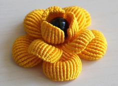 Yellow Camellia Brooch Pin by on Etsy. Irish Crochet Patterns, Macrame Patterns, Crochet Designs, Knitting Patterns, Crochet Bikini Pattern, Crochet Tote, Thread Crochet, Diy Macrame Earrings, Macrame Art