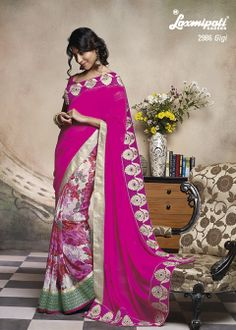 As the name suggests every women will giggle wearing this wonderful Resham - Zari work pink colored georgette half - half saree.