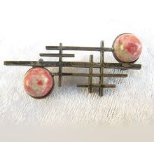 Vintage Modernist Sterling Silver 925 Rhodochrosite Pin from Vintage Jewelry Girl! #vintagejewelry