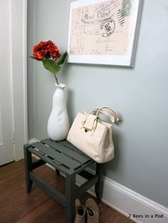 Entryway Refresh with painted bench and wall art. DIY enlargedbVintage Post Card Picture Frame, Industrial Home Sign. Small Space. Before & After