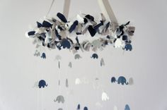 Elephant Mobile in Navy, Gray, & White- Nursery Mobile Decor, Baby Shower Gift