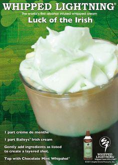 Luck of the Irish shot. Layer Baileys Irish cream over creme de menthe. www.whipahol.com