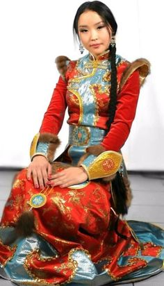 Tuvan girl in traditional dress.