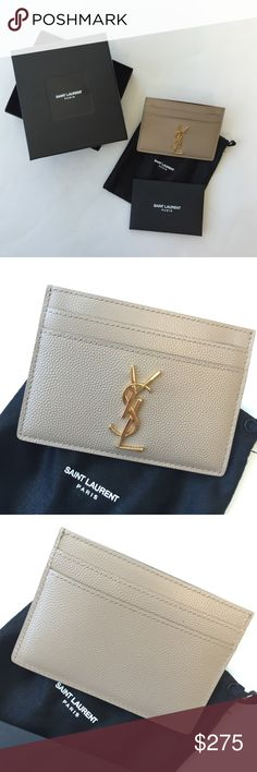 Saint Laurent card case Never used; Authentic purchased from Saint Laurent- perfect condition. Color is beige with gold accents. Yves Saint Laurent Accessories